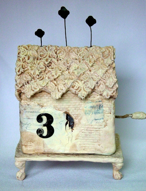 ceramic, collage, acrylics, number 3, footed pedestal, mixed media, assemblage, distressed, gothic, steampunk, vintage, antique, automaton, mechanical art, kinetic art, resin clay, paper clay, acrylics, bird, mechanical toy, antique