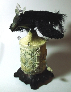 raven, mixed media, assemblage, distressed, gothic, steampunk, quartz crystal arrowheads, vintage, antique, automaton, mechanical art, kinetic art, polymer clay, mosaic, feathers, lace, resin clay, fiber, acrylics, bird, lamp base, antique, Raven full view