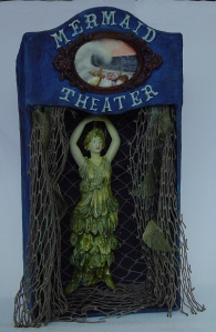 mermaid-theater-main, mermaid, toy theater, mixed media, assemblage, distressed, gothic, steampunk, vintage, antique, automaton, mechanical art, kinetic art, polymer clay, resin clay, fiber, muslin, acrylics, bird, camp toaster, antique