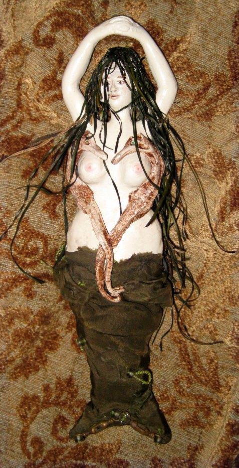 risque-mermaid, mixed media, sea grass, silk, resin clay, paper clay, acrylic, seahorses, mechanical mermaid, automata, risque, erotica, sexy