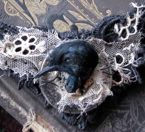bird, black, etsy, gothic, jewelry, mourning, taxidermy, victorian, white, tattered, steampunk
